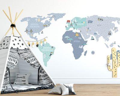 mapa-naklejka-pokoj-dzieciecy