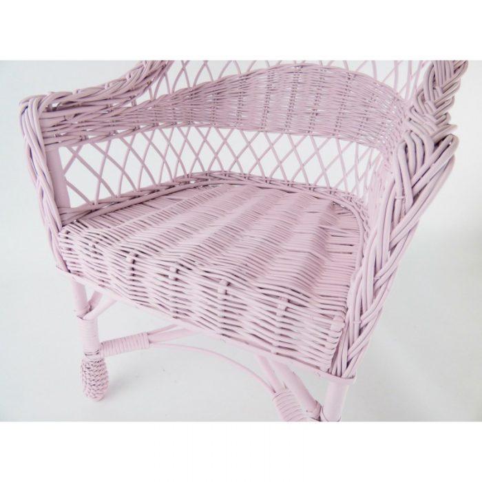 wiklinowe krzesełko dla dzieci w kolorze różowym