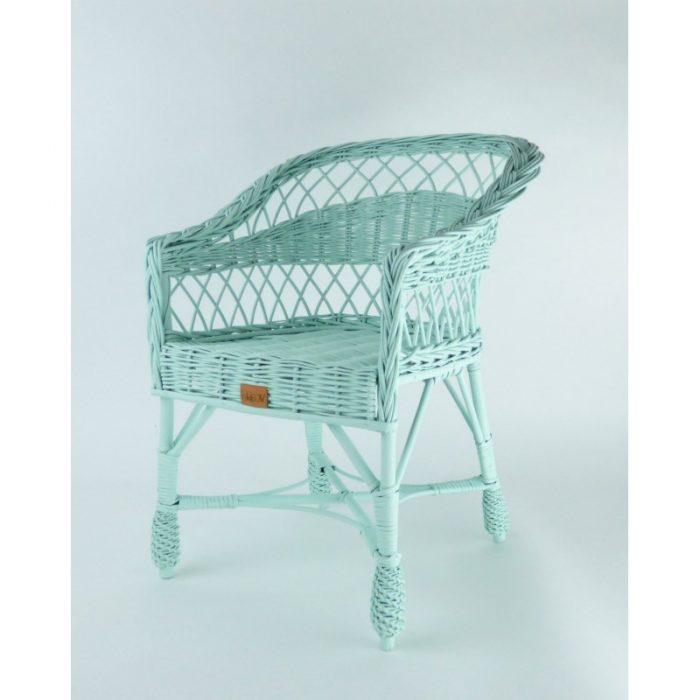 wiklinowe krzesełko dla dzieci w kolorze miętowym