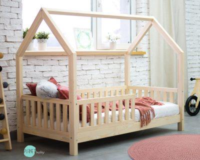 łóżko domek z barierką - styl skandynawski