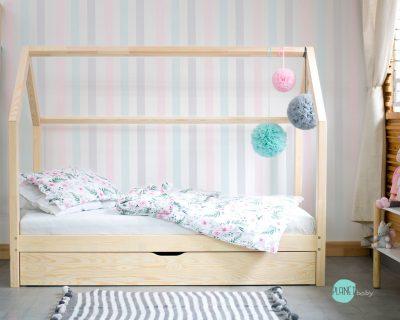 łóżko domek z barierką i szufladą