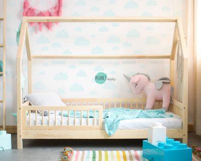 łóżko w kształcie domku do pokoju dziecka