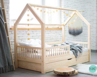 łóżko domek w stylu skandynawskim z szufladą