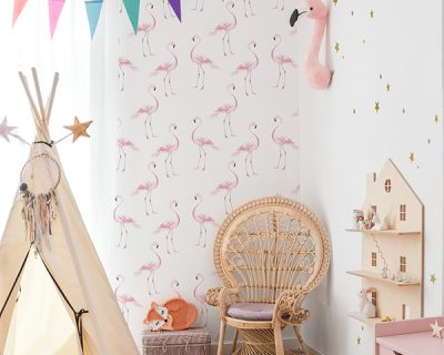tapeta do pokoju dziecka flamingi