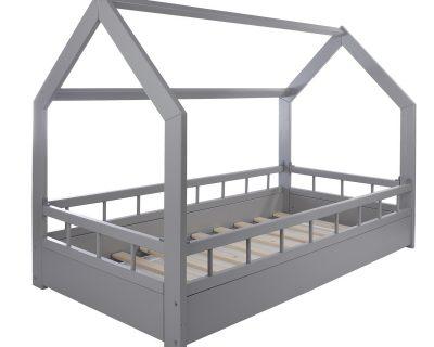 łóżko domek z barierkami szare