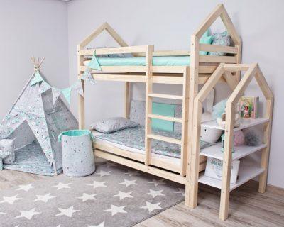 piętrowe łóżko domek